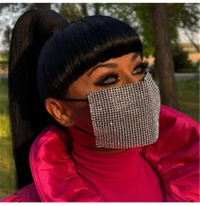 fashion hollow bling Reusable face masks for women night club stage performance party photos shooting rhinestones mouth masks for female