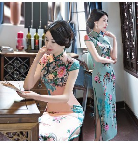 Floral chinese dress qipao dress traditional retro photos shooting show miss etiquette performance evening party dress