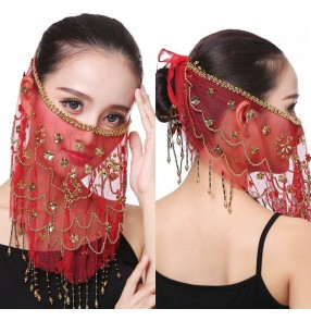 Indian queen belly dance performance veil props belly dance accessories stage dance veil mask for female