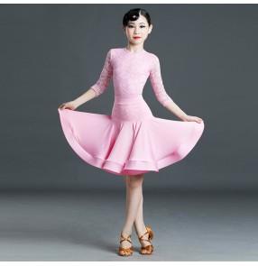 Kids light pink lace competition latin dance dresses practice ballroom salsa dance dress for girls