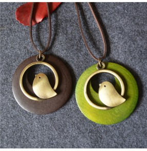 Korean wooden bird pendant long necklace sweater chain retro cotton and linen accessories for ethnic style dress clothes