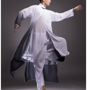 Men's white with black gradient hanfu chinese folk dance costumes traditional classical dance drama cosplay costumes for male