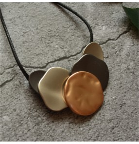 necklace for Linen cotton nature material dress tops  Simple Irregular Geometric Tag Long Pendant Necklace Sweater Chain