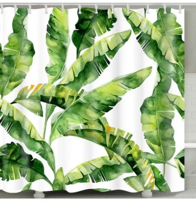 Nordic green leaves printed shower curtain waterproof bathroom curtains