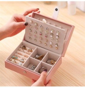 Organizer Earring Ear Stud PU Leather Portable Jewel Case Jewellery Packaging Gift Boxes Travel Jewelry Box