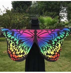 Rainbow gradient  beach butterfly wings for women belly dance stage performance drama angel cosplay wings