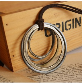 Retro ethnic necklace style female simple wild multi-layer circle pendant long necklace chain sweater chain