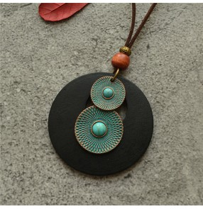 Retro ethnic style female cotton and linen dress jewelry simple style round wood chip long necklace chain sweater chain