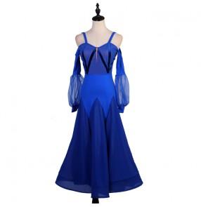 Royal blue black ballroom dance dresses for women competition stage performance waltz tango dance dress robe de danse de salon