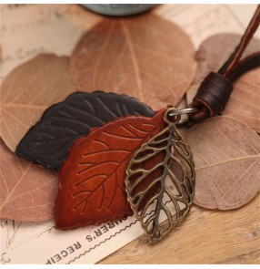 Simple nature style necklace for dress blouse personality leather leaves pendant long necklace cow leather sweater chain