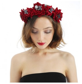 Simulation velvet rose flower headband Halloween party performance cosplay hair clip  ladies hair accessories headdress
