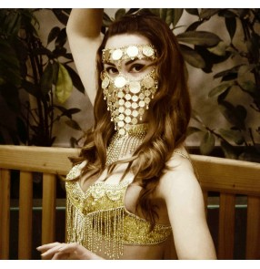 Women's belly dance coins metal veil mask stage performance mask video photos shooting hollow face mask for female