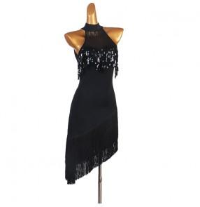 Women's black sequins fringes latin dance dress salsa chacha rumba dance dress robe latine pour femme