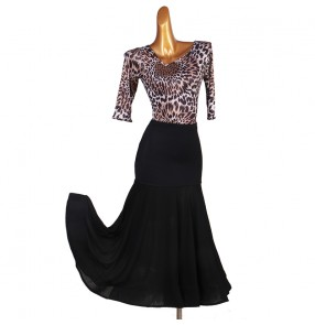Women's black with leopard ballroom dance dresses waltz tango dance dress Gesellschaftstanz Kleid für Frauen