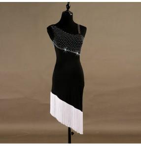 Women's black with white tassels competition latin dance dresses rhinestones salsa rumba chacha dance dresses robe de danse latine