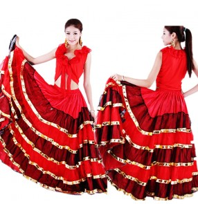Women's flamenco dance skirts red ballroom spanish bull paso doble dance dance skirts for female