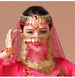Women's indian belly dance veil mask stage performance dance accessory party dance coins mask for female