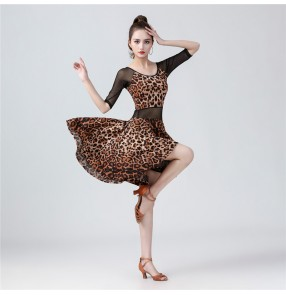 Women's leopard black latin dance dress stage performance modern dance salsa chacha dance dress