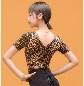 Women's sexy leopard black latin dance tops ballroom salsa chacha rumba stage performance dance tops for female