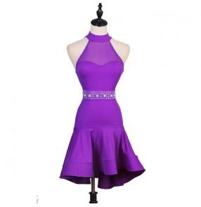 Women's violet sleeveless latin dance dress rhinestones sashes rumba salsa chacha dance dress robe de danse latine pour femme