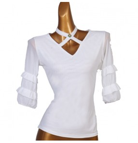 Women's white ballroom dancing tops latin salsa chacha dance blouses shirts for female