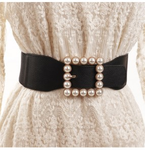 Women's white dress elastic waistband latin modern dance stage performance sashes fashion beaded wide waist belt for female