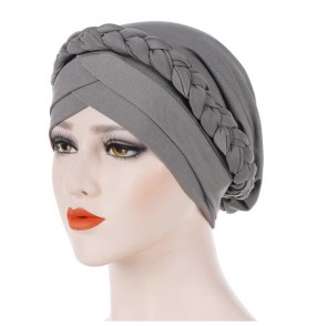 Women Turban Caps Braided Head Wrap African Arab Bandana Twist Headband Hat turbante