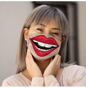 2pcs 3D lip prtinted fashion reusable face masks for unisex outdoor protective mouth mask for women men