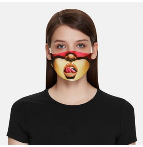 2PCS 3D printed reusable face masks for unisex funny express pattern photos shooting fashion washsable face masks for women and men