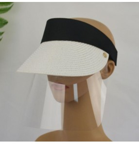2pcs anti-spray saliva direct splash visor cap with clear face shield for adult summer sunscreen outdoor protective straw sun hat for unisex