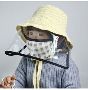 2pcs Baby infant fisherman's cap with clear face shield anti-spitting saliva virus safety protect sun cap