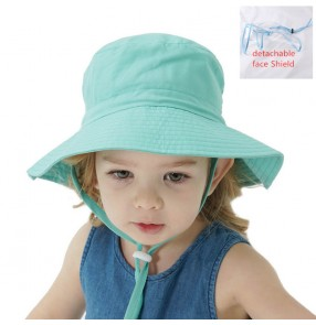 2pcs Baby kids outdoor cotton fisherman's cap with clear detachable face shield anti-spray saliva dust proof protective sun cap