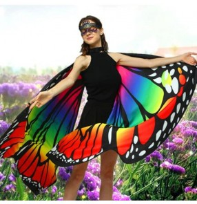 2pcs belly dance Rainbow butterfly wings halloween party stage performance drama masquerade cosplay fairy cape for female