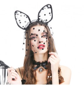 2PCS black lace sexy stage performance night club cosplay bunny ear clip with veil mask cat ear hood hair band