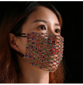 2pcs Bling rainbow gold rhinestones reusable face masks for women photos shooting singers stage performance face masks for female