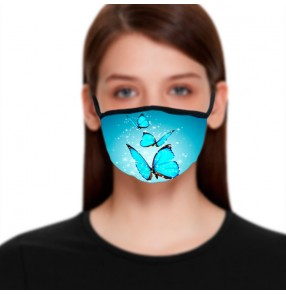 2pcs Blue Reusable face masks for women dust proof protective fashion photos shooting face mask for female