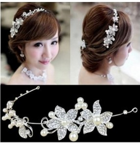 2pcs Bridal jewelry wedding dress Korean bride headdress soft chain wedding party hair accessories forehead head chain