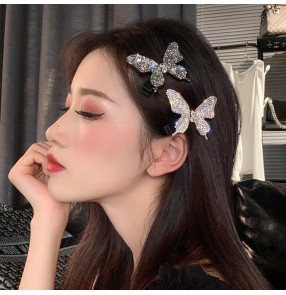 2pcs Butterfly bling diamond butterfly hairpin side clip bangs clip fairy cosplay stage performance hair accessories for girls