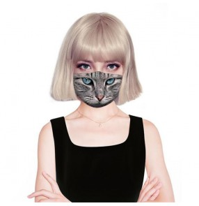 2PCS cartoon cat pattern reusable face masks for unisex dust proof sun protection washable face masks for women and men