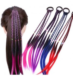 2pcs Children hiphop stage performance twist braid scrunchies gradient color rubber band hair rope Girl wig braid tie hair styling baby show hair accessories