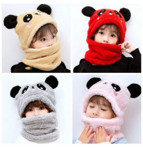 2PCS Children's cartoon faux fur hat with scarf boys girls ear protection warm hat bib one cute two-piece set hat