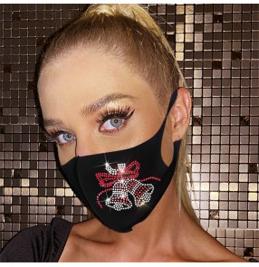 2PCS christmas style reusable face masks for unisex bling fashion performance photos shooting breathable mask for women and men
