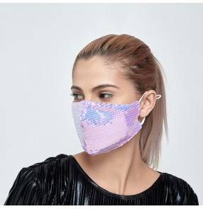 2pcs Cloth sequins reusable face mask fashion purple laser sequined mask dustproof washable adult face mask breathable