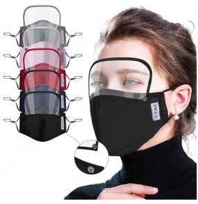 2pcs Cotton Reusable face mask with eye shield removable mouth mask for unisex PM2.5 dust proof protective mask for women men