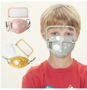 2PCS Cotton reusable face masks for kids dust pm2.5 proof with eye protection shield protective mask for girls boys