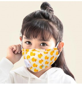 2pcs Cotton reusable face masks for kids with breathing valve PM2.5 dust proof protective cartoon breathable mouth mask for boy girls
