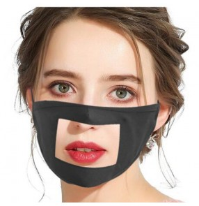 2pcs Cotton visible reusable face mask for unisex lips with clear TPU protection mouth mask for women and men