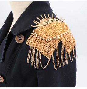 2pcs Dress Coat blazers Shoulder flower Metal Fringed Epaulettes singers host bridegroom stage Performance suit shoulder jewelry clothing accessories