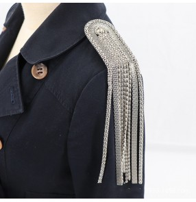 2PCS England US style singers host Coat blazers decoration metal long fringed silver gold epaulettes corsage suit clothing apparel shoulder accessories