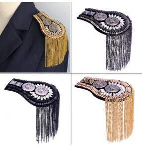 2pcs European American clothing Blazer accessories metal epaulets Fringed Handmade Small Suit Epaulettes Classical tassel fashion shoulder accessories